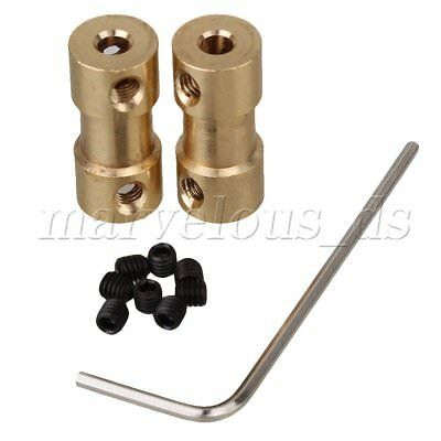 2pcs Solid Brass Shaft Motor Flexible Coupling Coupler Connector 3.17 x 4mm
