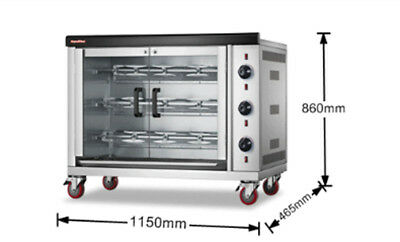 3 Rods Chicken Commercial Rotisserie Oven 220V Electric Control /Gas Heating