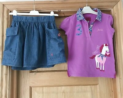 JOULES *GIRLS Designer HORSE Theme Top  T-SHIRT & SKIRT OUTFIT 7-8 YEARS & 8y