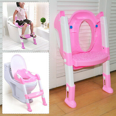 BABY TODDLER POTTY TRAINING TOILET SEAT & STEP LADDER LOO TRAINER SYSTEM -pink