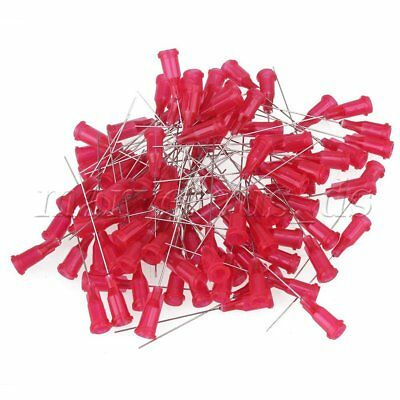 100pcs Red Plastic Glue Liquid  Dispenser Dispensing Blunt Needle Tip 25 Gauge