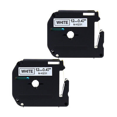 2PK Compatible Brother for P-touch Label M-K231 MK231 Black/White 12mm Tape PT65