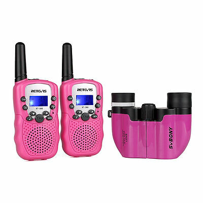 Retevis RT-388 Kids Walkie Talkie PMR446 Radio+8x21 Binocular Pink Children Gift