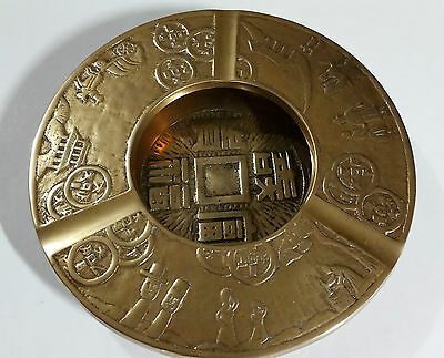 Vintage Asian Solid Brass Ashtray/ Bowl