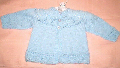 Handmade Knitted Baby Jacket in Patons 4ply baby yarn J412