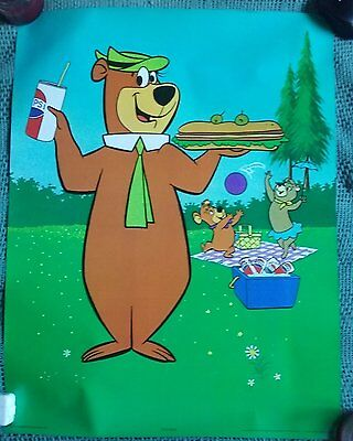 Scarce Vtg 1978 Yogi Bear Pepsi Promotional Poster Hanna Barbera 26x20 Unused