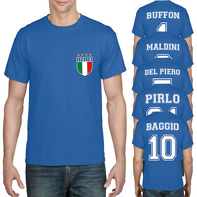 Retro Italy Football Shirt Italia Legends Top World Cup T-Shirt Mens Boys 897