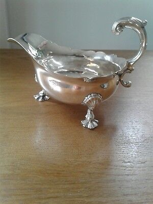 Massive Antique George Ii Solid Sterling Silver Sauce Boat London 1739/40