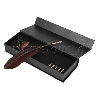 Brown Retro Feather Pen Stationery Gift Turkey Quill Metal Nibs Dip Ink Pen Set