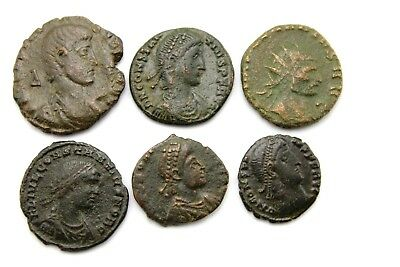 LOT OF SIX LATER ROMAN IMPERIAL AE FOLLIS.  1v724