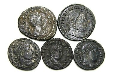 ANCIENT LATER ROMAN IMPERIAL COINS. LOT OF FIVE.  1v671