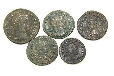 GROUP OF FIVE LATER ROMAN IMPERIAL COINS. FOR CLEANING.   1v693