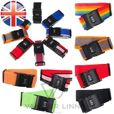*UK Seller* Luggage Suitcase Straps Adjustable belt With Combination Lock Tie