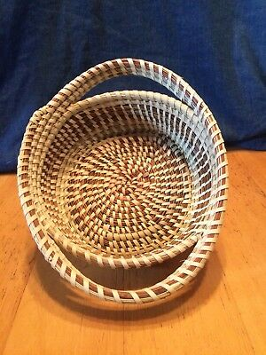 vintage native handcrafted pine needle/sweet grass basket 6'x