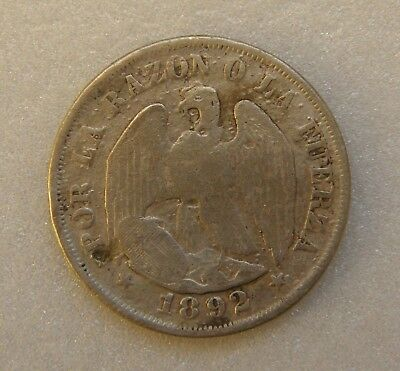 Chile Coin 20 Cents Centavos 1892 23mm