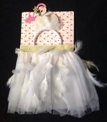 Girls Tulle Skirt Tutu With Feathers Glitter Swan Headband White Gold Size 3 4 5