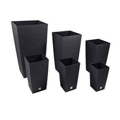 2 x Large-RATTAN Tall Planter Square Plastic Garden Flower Plant Insert Black