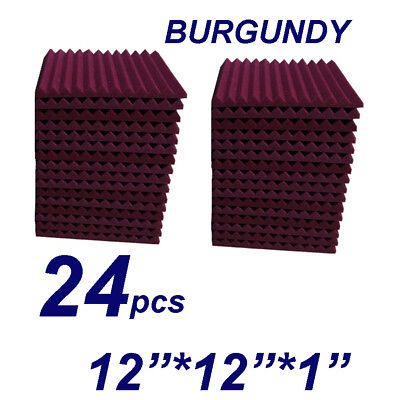 12X12X1 24pcs burgundy Acoustic Foam Wedge Studio Soundproofing Wall Tiles