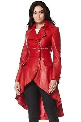 Ladies Leather Jacket Red 100% REAL NAPA Back Laced Victorian Gothic Coat 3492