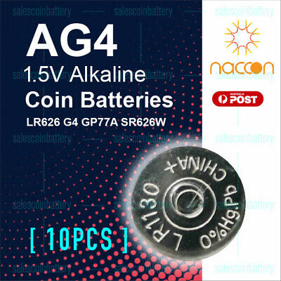 10x Naccon AG4 1.5V Cell Coin Alkaline Button Battery Batteries Stock in Melbour