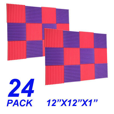 24 Pack 12x12x1 purple red Acoustic Wedge Studio Soundproofing Foam Wall Tiles