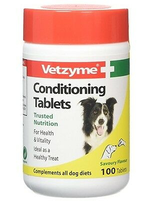 Vetzyme Dog Pet Puppy Conditioning Tablets 100 Savoury Pregnant Dogs Vitamins