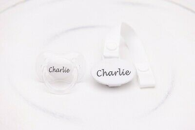 Personalised Dummy *cherry Teat* Dummy And Dummy Clip *can Be Sterilised*