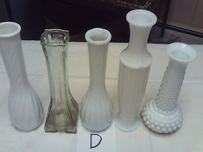 antique vintage group of 5 assorted milk and clear glass flower vases (lot d)