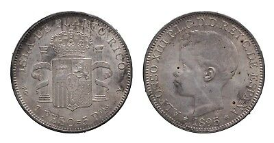 1895 Puerto Rico 1 Peso Alfonso XIII. - Extremely Fine - Combined Shipping