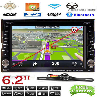 "6.2"" GPS Navigation HD Double 2 DIN Car Stereo DVD Player Bluetooth iPod MP3"