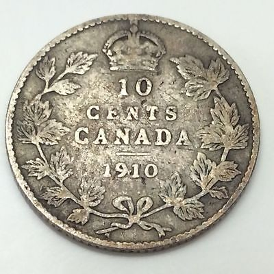 1910 Canadian dime, 10 cents, nice circulated condition, sterling silver.