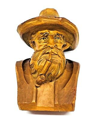 VE2 * Wood Carved Black Forest Bavarian Man Sculpture Vintage Folk Art 1960s