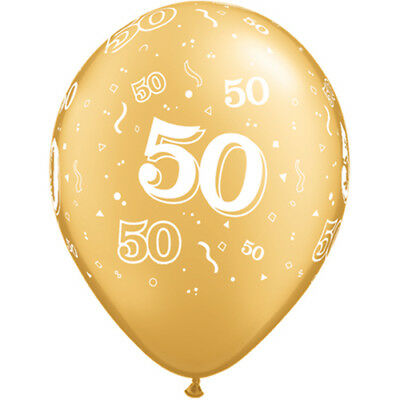 50th Birthday 50 Years Gold anniversary air or helium party Latex Balloons