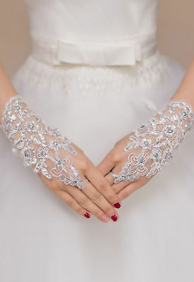 Bridal Wedding Floral Rhinestone Lace Gloves12 Styles To Choose From Uk Seller
