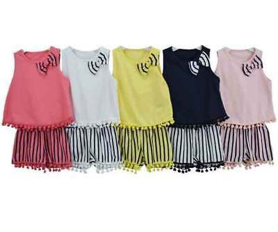 Girls Kids Baby Pom Pom Shorts & Vest Top 2 Piece Set Ages 6M to 12 Years