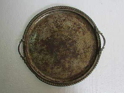 Vintage Old Handcrafted Unique Round Shape Iron Nickel Serving Tray  Collectible