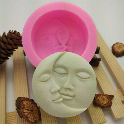 Sun & Moon Faces Silicone Soap Molds Fondant Chocolate Soap Moulds Tool DIY New