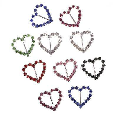 20 x Heart Shaped Crystal Ribbon Buckle Slider for Wedding Invitation Letter