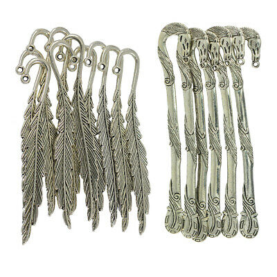 16pcs Feather Horse Metal Clip Bookmark Book Marks Magazine Stationery Gift