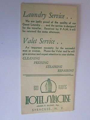 vintage Ink Blotter Hotel Syracuse New York Laundry Service James Gilday Manager