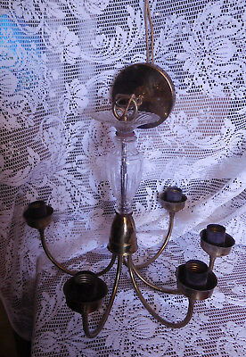 Antique Vintage 5 Arm Brass & Crysral Ceiling Light FIxture Chandelier ~ FREE SH