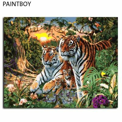 Europe Home Decoration Tiger Family DIY Canvas Oil Painting Framed Pictures Pain