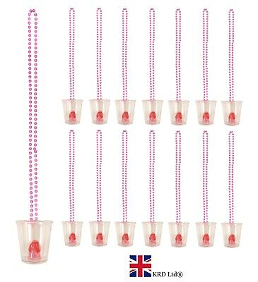 18 x Hen Party Willy Shot Glass Glasses /& Pink Necklace Hen Party Accessory QR14