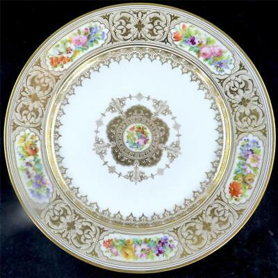 ANTIQUE 19TH CENTURY FRENCH SEVRES STYLE PORCELAIN PLATE FLOWERS GILT a