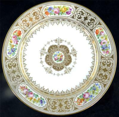 N516 ANTIQUE 19TH CENTURY FRENCH SEVRES STYLE PORCELAIN PLATE FLOWERS GILT b
