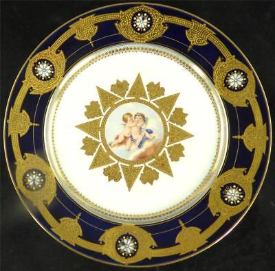 N516 ANTIQUE  FRENCH SEVRES STYLE PORCELAIN PLATE CHERUBS  COBALT BLUE ENAMEL b