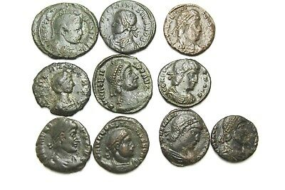 Later Roman Imperial Ae Follis. Lot Of Ten.   1V439