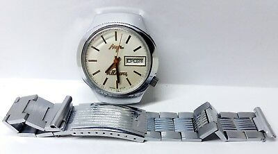 Vintage LUCH 3055 electronic-mechanical watch with balance and quartz-stabilize