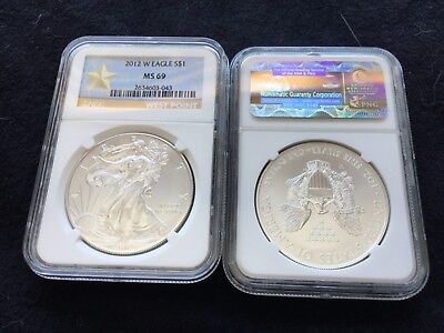 Burnished 2012 W Silver America Eagle $1 NGC MS SP 69 1oz.