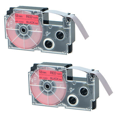 """2PK XR-12RD Black on Red Label Tape for Casio KL-60 100 7000 8200 8800 1/2"""" 12mm"""